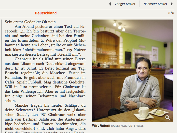 """Portrait des Dresdner Gastronomen und Muslim Sadiq Anjum aus Pakistan in """"DER SPIEGEL (04/2015)""""."""