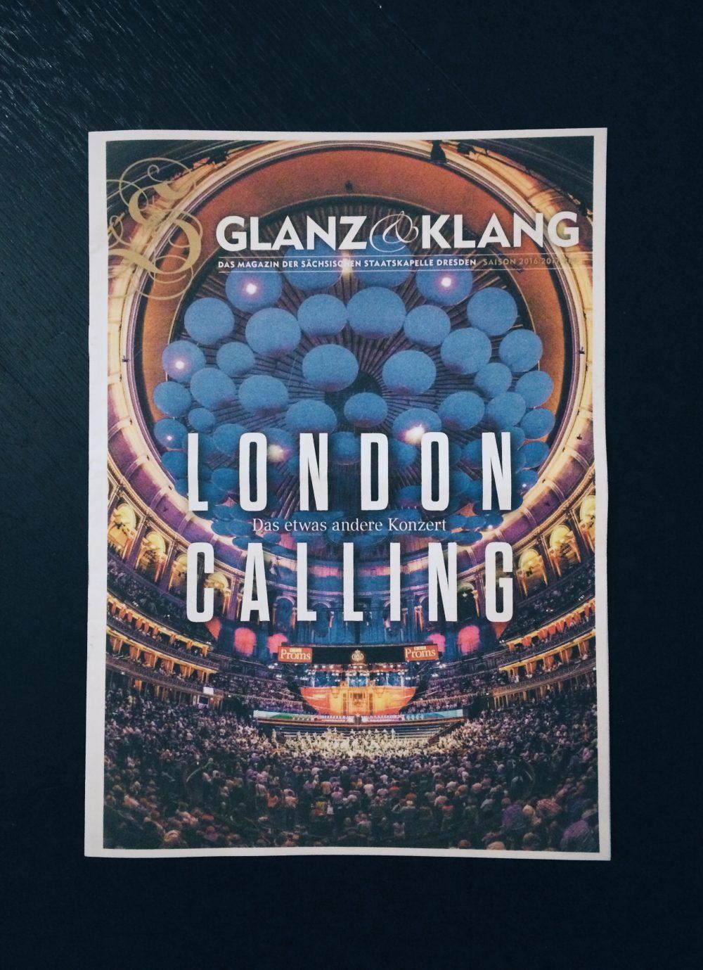 Titelbild mit Innenansicht der Royal Albert Hall in London im Magazin der Sächsischen Staatskapelle / Saison 2016/17.
