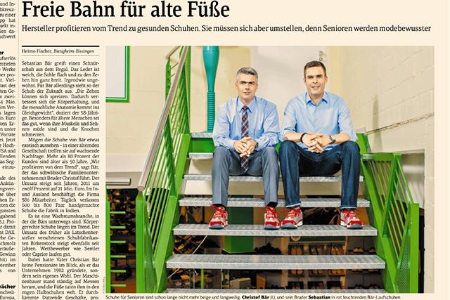 """Die Brüder und Schuhhersteller Bär aus dem schwäbischen Bietigheim-Bissingen am 13.08.2012 in """"Financial Times Deutschland""""."""