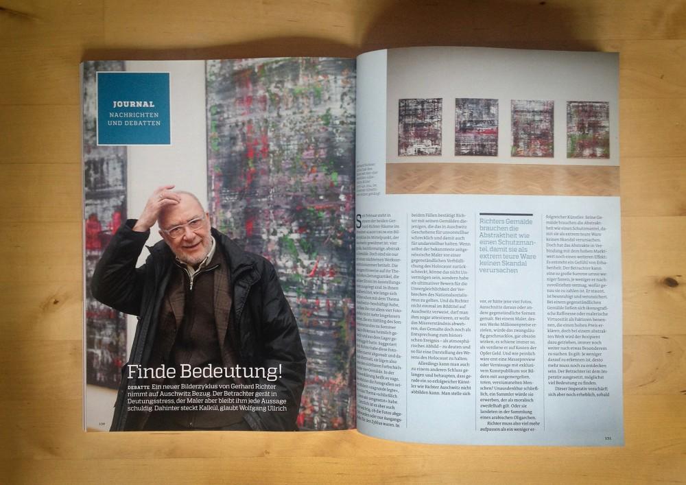 """Gerhard Richter in """"art - Das Kunstmagazin"""" / Ausgabe Mai/2015."""