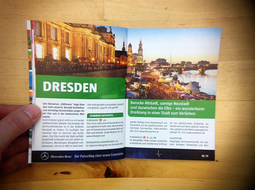 Dresden-Panorama in Marco-Polo-Reiseführer der Daimler AG im Herbst 2012.