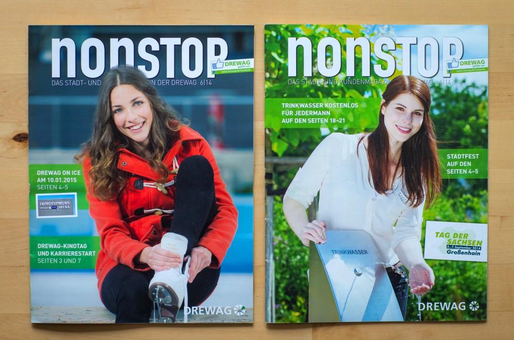 Zwei Titelmotive auf Ausgaben des NONSTOP-Magazins, dem Kundenheft des Dresdner Energieversorgers DREWAG, im Sommer und Winter 2014.