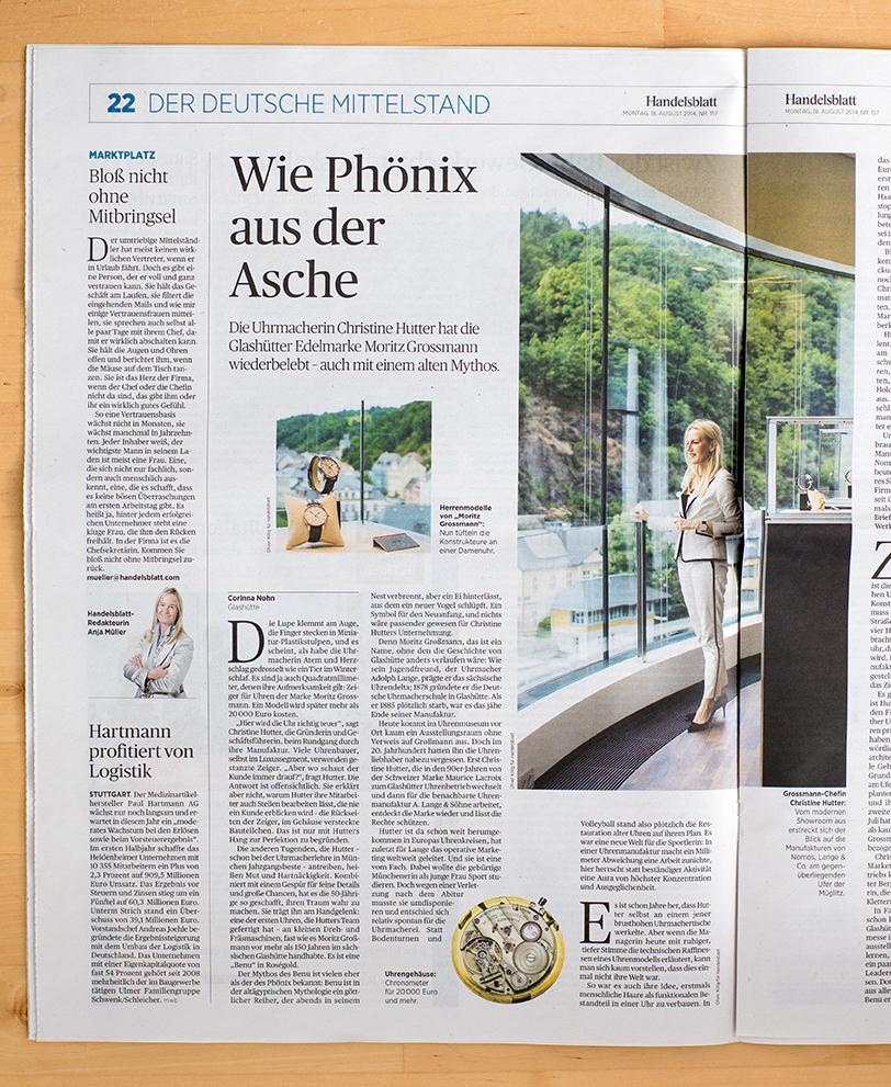 """Illustration einer Geschichte über die Uhrenmanufaktur Grossmann am 18.08.´14 in """"HANDELSBLATT"""""""