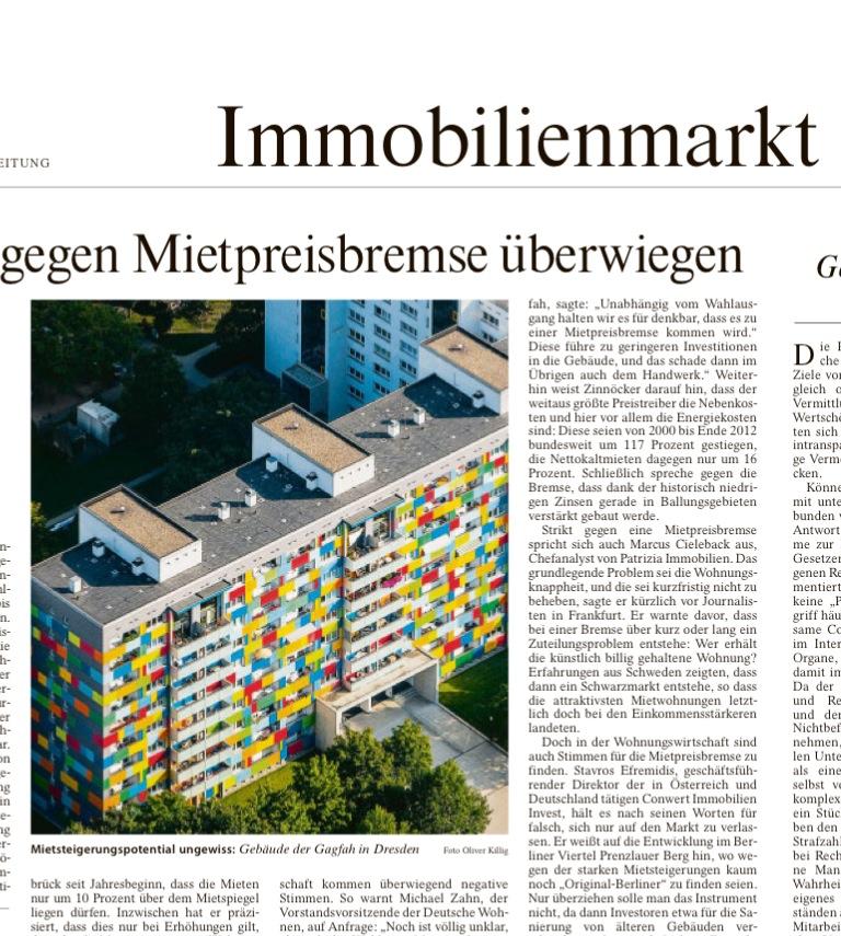 Wohnhaus in Dresden am 06.09.´13 in Frankfurter Allgemeinen Zeitung.