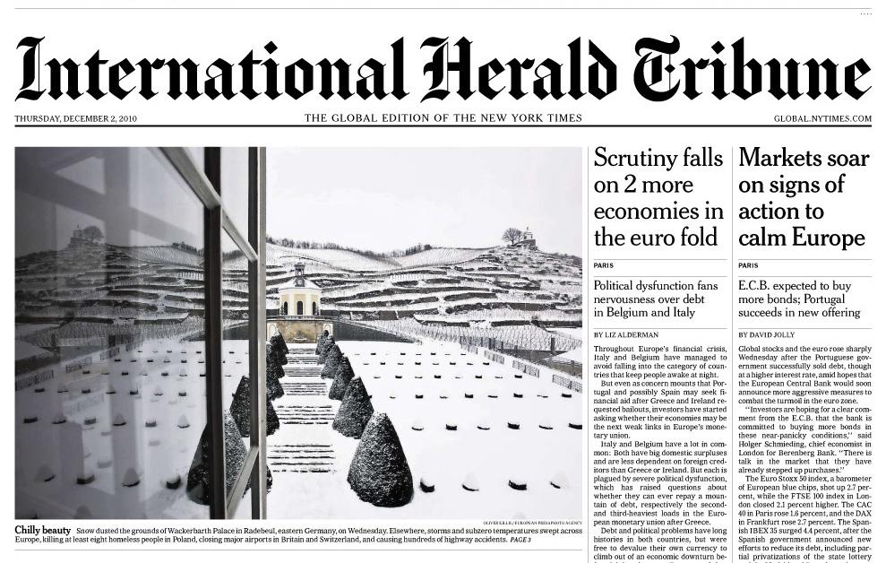 """Titelbild auf der """"International Herald Tribune"""" am 02.12.2010."""
