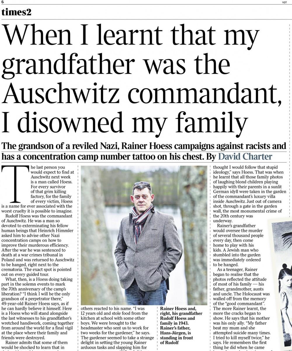 """Ein Portrait aus dem Schwarzwald vom Enkel des KZ-Lagerkommandanten von Auschwitz und Nazi-Gegner, Rainer Hoess, in """"THE TIMES"""" (UK) vom 21.01.2015."""