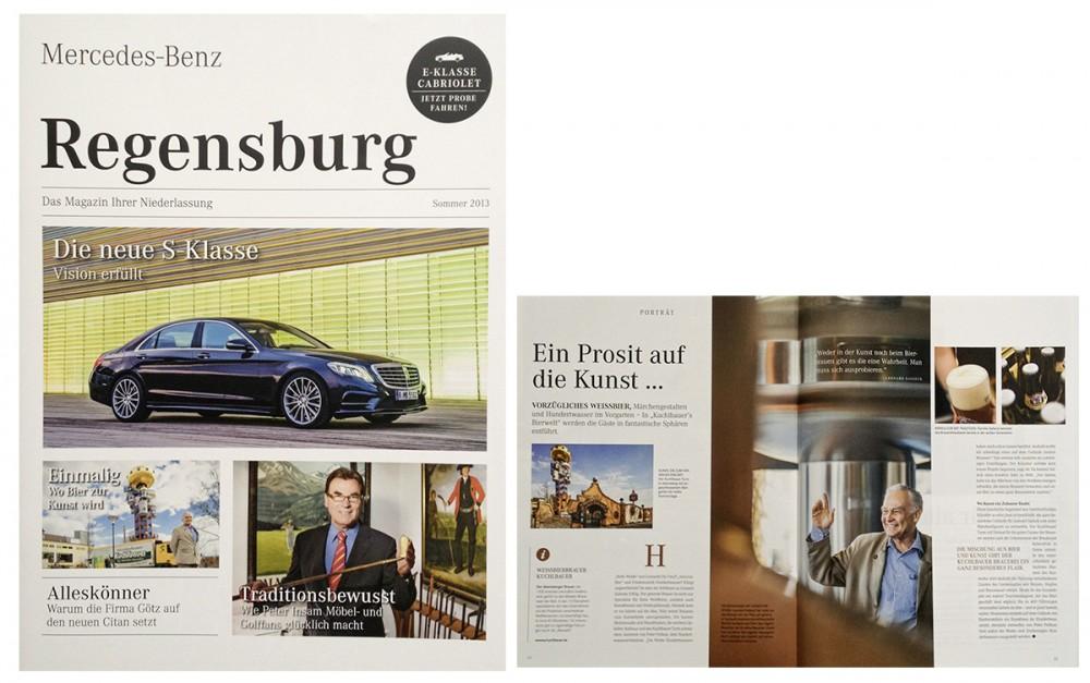 Neben Stuttgart, Dresden und Leipzig nun auch Killig-Bilder in der Sommerausgabe der Mercedes-Benz-Magazins der Niederlassung in Regensburg.