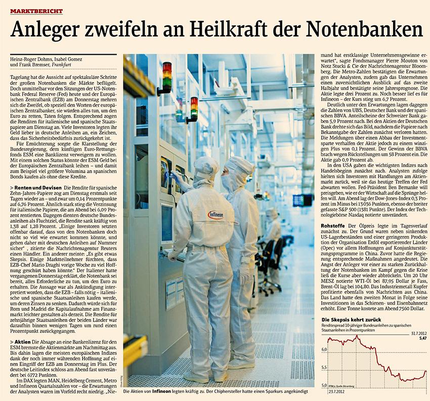 """Reinraum von Infineon am 01.08.2012 in """"FINANCIAL TIMES Deutschland"""""""
