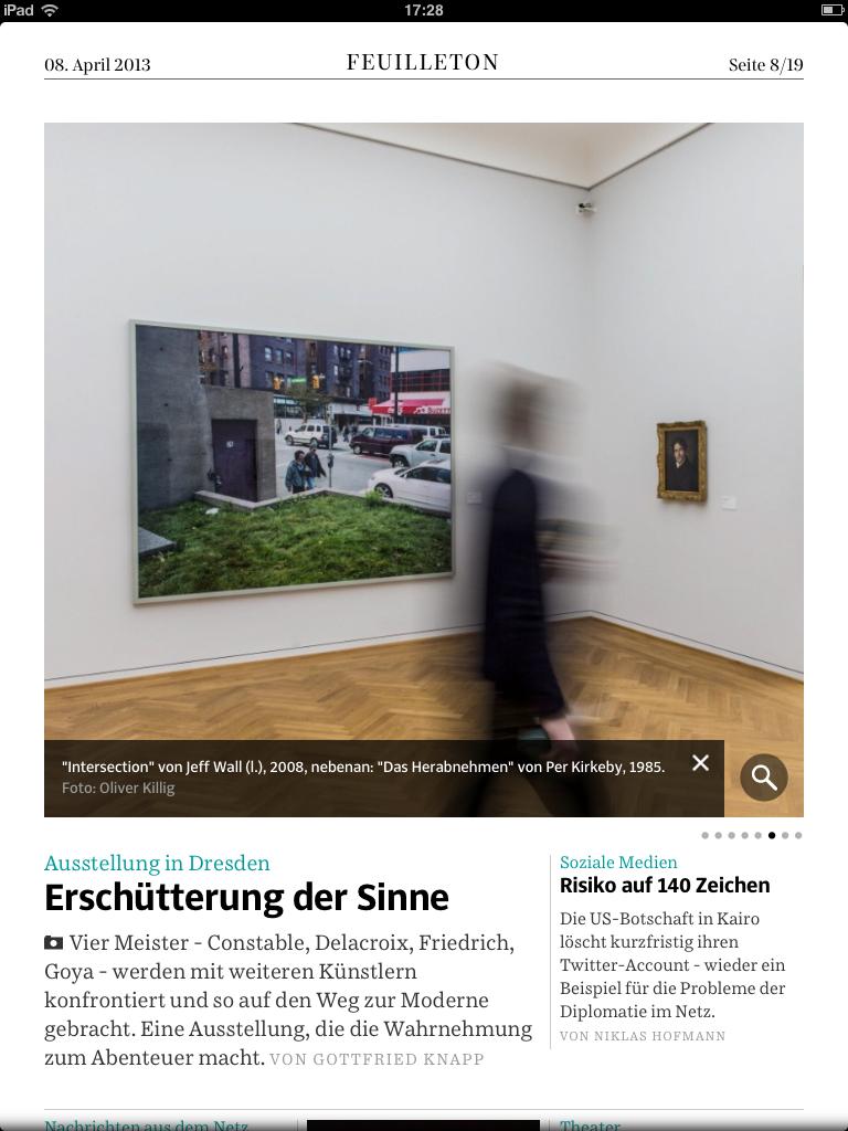 """Bildergalerie in der elektronischen """"Süddeutschen"""" zur Ausstellung """" Erschütterung der Sinne"""" im Dresdner Albertinum."""