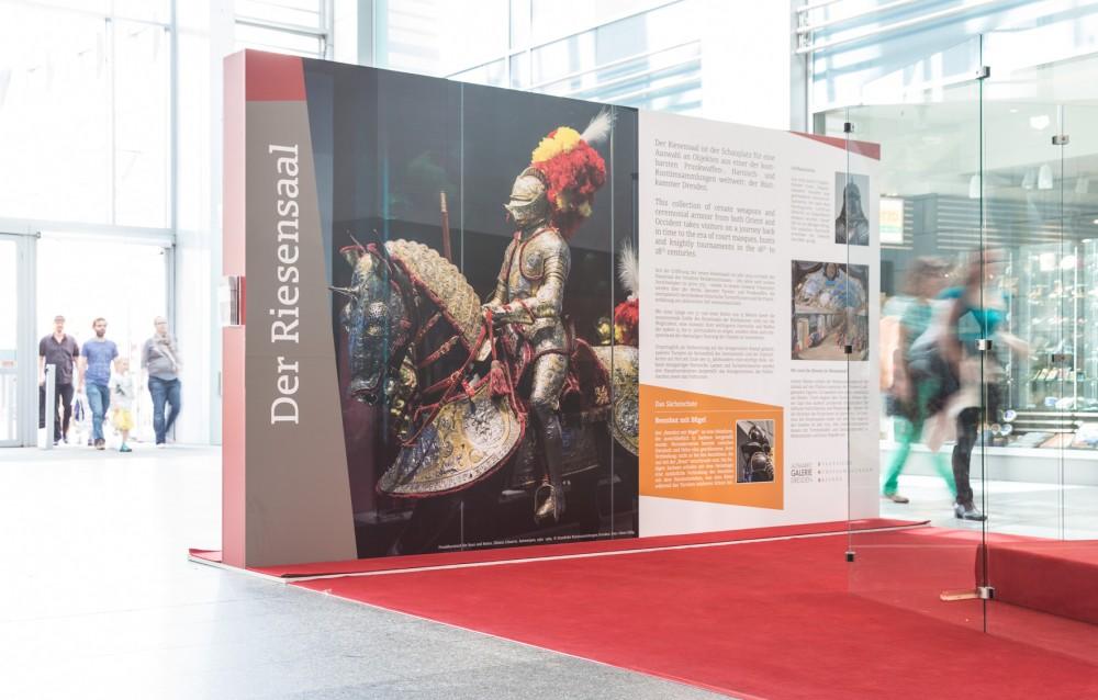 Marketing-Motiv für Großformat-Druck von einer Ritterrüstung für die Staatlichen Kunstsammlungen Dresden im April 2015.