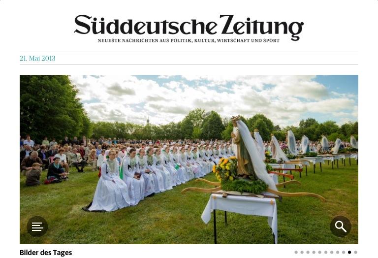 """Motiv in """"Bilder des Tages"""" am 21.05.´13 in der elektronischen Süddeutschen Zeitung von einer sorbischen Wallfahrts-Prozession."""