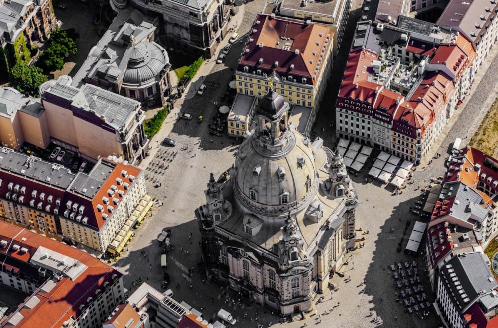 Luftaufnahme der Dresdner Frauenkirche am 29.08.2012.