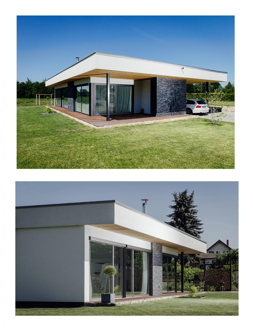 Zwei Ansichten eines Einfamilien-Hauses im Juni 2015 bei Dresden.