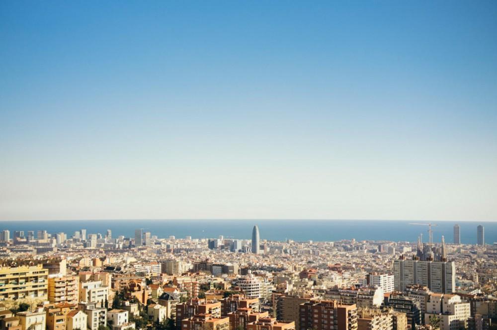 Überblick der Stadt Barcelona im Februar 2016.